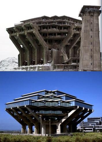 Снежная крепость из Начала и библиотека Калифорнийского университета, Сан-Диего