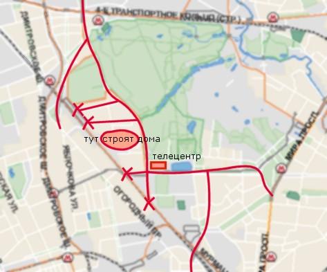 Москва, Марфино, Останкино, красные крестики