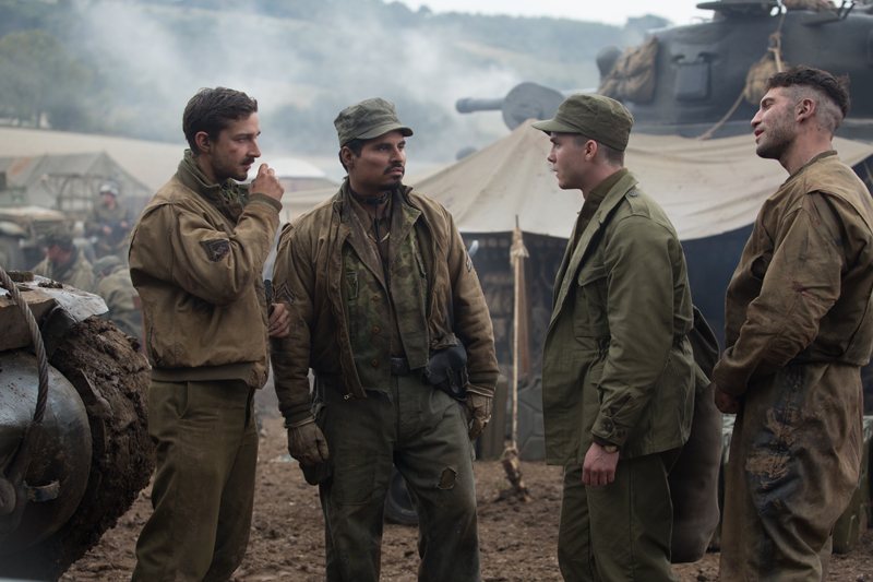 "Boyd ""Bible"" Swan (Shia LaBeouf), Trini ""Gordo"" Garcia), Norman (Logan Lerman) and Grady ""Coon-Ass"" Travis (Jon Bernthal) Fury Ярость кадр still"