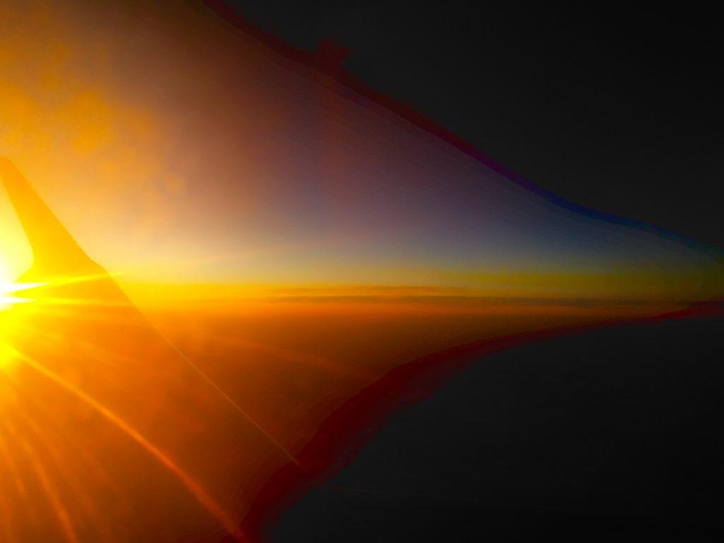 закат из самолёта