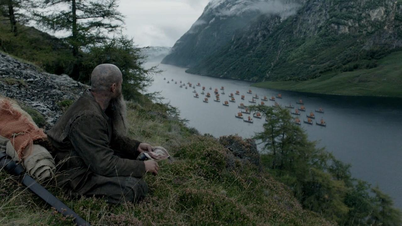 Викинги флот в фьорде
